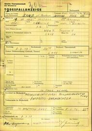 Sand Josefine: Death certificate, Ghetto Terezín